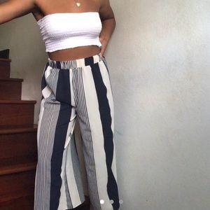 Flowy Cream & Blue Pants